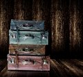 Vintage old leather luggage display in wooden shelf Royalty Free Stock Photos