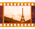 Vintage old mm frame photo film with eiffel tower in paris fr france Royalty Free Stock Photography