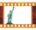 Vintage old mm frame photo film with ny statue of liberty usa Royalty Free Stock Photo