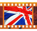 Vintage old mm frame photo film with uk british flag union j jack Royalty Free Stock Photography