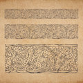 Vintage old paper texture background with floral ornamental seamless border scrapbooking victorian style decorative elements page Royalty Free Stock Images