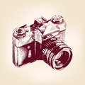 Vintage old photo camera vector llustration drawn Stock Images
