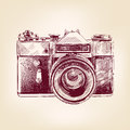 Vintage old photo camera vector llustration drawn Stock Photography