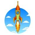 Vintage, old rocket on a sky background Royalty Free Stock Photo