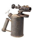 Vintage old rusty blowtorch isolated on white background Stock Photography