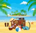 Vintage old travel suitcase on beach. Royalty Free Stock Photo