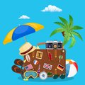 Vintage old travel suitcase. Royalty Free Stock Photo