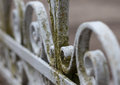 Vintage old wrought-iron fence macro photo Royalty Free Stock Photo