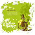 Vintage olive background hand drawn illustration Royalty Free Stock Photos