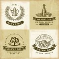 Vintage olive oil labels set a of fully editable in woodcut style eps vector illustration with clipping mask Royalty Free Stock Image