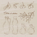Vintage olive oil set Royalty Free Stock Photo