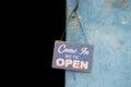 Vintage open sign on metal door Royalty Free Stock Photos