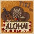 Vintage orange card - signboard tiki bar -with the image ukulele