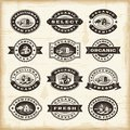 Vintage organic farming stamps set a of fully editable in woodcut style eps vector illustration use gradient mesh and transparency Stock Photography