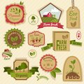 Vintage organic labels farm fresh natural products agriculture food set isolated vector illustration Stock Photo