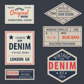 Vintage original blue jeans raw denim labels,genuine exclusive Royalty Free Stock Photo
