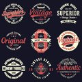 Vintage original typography set. Retro print for t-shirt design. Graphics for authentic apparel. Collection of tee shirt badge. Royalty Free Stock Photo