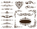 Vintage ornaments design elements floral curlicues curbs frame corners stickers Royalty Free Stock Photo