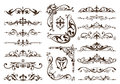 Vintage ornaments design elements floral curlicues white background curbs frame corners stickers Royalty Free Stock Photo