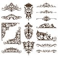 Vintage ornaments design elements floral curlicues white background curbs frame corners stickers