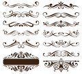 Vintage ornaments design elements floral curlicues white background curbs frame corners stickers illustration Royalty Free Stock Photo
