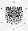 Vintage ornate cat head with tribal ornaments.