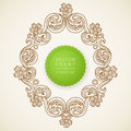 Vintage ornate frame with place for your text bright victorian floral decor in spring colors template design greeting Royalty Free Stock Image