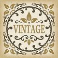 Vintage ornate label frame vector with leafs and scrolls shape Royalty Free Stock Photo