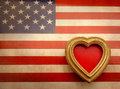 Vintage ornate picture frame. American canvas flag. Royalty Free Stock Photo