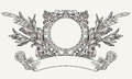 Vintage ornate wreath scroll banner and Royalty Free Stock Photos