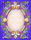 Vintage oval frame with berries & shells Royalty Free Stock Photo