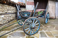 Vintage painted wooden cart in village of Zheravna, Bulgaria Royalty Free Stock Photo
