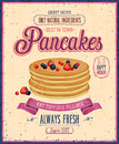 Vintage pancakes poster vector illustration Stock Images
