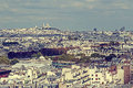 Vintage panorama and aerial view from Eiffel tower in Paris, Fra Royalty Free Stock Photo