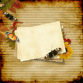 Vintage paper background with old card and butterf Royalty Free Stock Photo