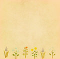 Vintage paper with flower border for greeting card Royalty Free Stock Photo