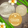 Vintage paper labels with vacation and travel embl emblems tropical flowers on a wooden surface Stock Photography