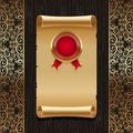 Vintage paper scroll with golden seal Royalty Free Stock Photo