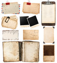 Vintage papers postcards frames clipboard pile of old isolated on white background paper sheets with clip old photo antique retro Stock Images