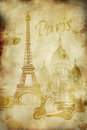 Vintage paris postcard Royalty Free Stock Photo