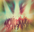 Vintage party people background silhouettes of dancing on an abstract with effect added Stock Photography