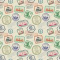 Vintage passport travel stamps vector seamless pattern Royalty Free Stock Photo