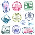 Vintage passport travel vector stamps with international symbols and famous trademark Royalty Free Stock Photo