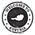 Vintage passport welcome stamp with Austria map. Royalty Free Stock Photo