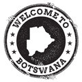 Vintage passport welcome stamp with Botswana map.