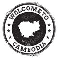 Vintage passport welcome stamp with Cambodia map.