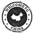 Vintage passport welcome stamp with China map. Royalty Free Stock Photo