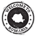 Vintage passport welcome stamp with Romania map.