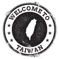 Vintage passport welcome stamp with Taiwan. Royalty Free Stock Photo