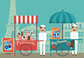 Vintage pastry and ice cream vendor in paris illustration of patisserie beautiful with eiffel tower as the backdrop Royalty Free Stock Images